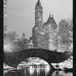 "Amanti Art - ""Central Park"" Framed with Gel-Coated Finish - If you love New York City, especially the enchantment of Central Park in winter, this black and white photograph captures that delightful winterscape. The hush of snow, juxtaposed with gleaming city lights, creates an ethereal scene that comes framed and ready for your wall. Made in the USA."