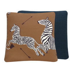 """Chloe and Olive - Scalamandre Brown Zebra Print Decorative Throw Pillow, Left Facing 20x20"""" - This iconic, prancing print by Scalamandre will bring vivacity and glamour to a couch, bed or chair. With a stunning pair of zebras on each throw pillow, the exquisite combination of safari brown, black and white will be a favorite for many seasons to enjoy. Scalamandre is a well known manufacturer of the finest quality fabrics for over 80 years."""