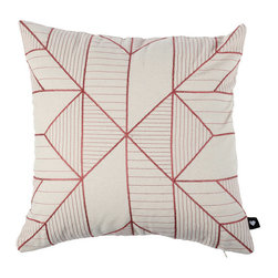Inova Team -Modern Pillow Cover - The Pillow Cover sports an arrow-like pattern to mesmerizing effect. In on-trend salmon, this embroidered beauty steers clear of middle-of-the-road style and instead puts your bedroom on the fast track to awesome.