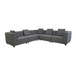 Wholesale Interiors - Baxton Studio Alcoa Gray Fabric Modular Modern Sectional S - Contemporary sectional sofa
