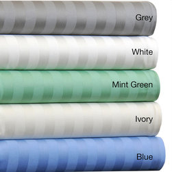 None - Egyptian Cotton 500 Thread Count Striped Sheet Set with Bonus Pillowcases - Layer your bed with this 500 thread count Egyptian cotton sateen sheet set. Including six bonus pillowcases,this luxurious set is available in ivory,mint-green,blue,grey or white finish.  Machine washable for easy care and repeated use.