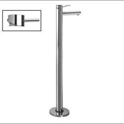 Aquabrass - Aquabrass - 61085 Volare Floormount Tub Filler - ABFB61085BK - Straight Lever