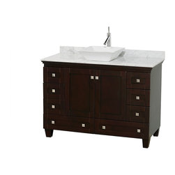 """Wyndham Collection - 48"""" Acclaim Single Vanity & White Carrera Marble Top & Pyra White Porcelain Sink - Sublimely linking traditional and modern design aesthetics, and part of the exclusive Wyndham Collection Designer Series by Christopher Grubb, the Acclaim Vanity is at home in almost every bathroom decor. This solid oak vanity blends the simple lines of traditional design with modern elements like beautiful overmount sinks and brushed chrome hardware, resulting in a timeless piece of bathroom furniture. The Acclaim comes with a White Carrera or Ivory marble counter, a choice of sinks, and matching mirrors. Featuring soft close door hinges and drawer glides, you'll never hear a noisy door again! Meticulously finished with brushed chrome hardware, the attention to detail on this beautiful vanity is second to none and is sure to be envy of your friends and neighbors"""