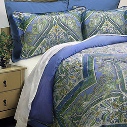 Scent Sation - Blue & Green Paisley Comforter Set - Lounge in luxurious style with this beautiful comforter set featuring eye-catching hues and extra-soft construction, ensuring you wake rested and refreshed every morning.   Includes comforter, bedskirt, and two shams Twin size includes only one sham Cotton / polyester Machine wash; tumble dry Imported