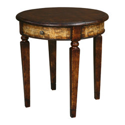 TerraSur - Fiorella Round Side Table - Create a beautifully balanced room with this eclectic-traditional side table. The classic silhouette — tapered legs, round surface, apron drawer — is enhanced by a contemporary hand-painted design. The dark wood and light design mean this table looks just as great whether your room is fresh and modern or classically elegant.