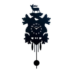 Maple's Clock - Black Silhouette Metal Pendulum Wall Clock - - All metal  - Pendulum operating  - Wilderness themed silhouette  - Conspicuous numbers and hands  - Battery - 1AA (Not Included)  - Overall height 26.25 with the pendulum Maple's Clock - MW3101