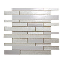 Anora Snow White Glass Mosaic - Clean cut whites create an infusion of light for an eye-catching design.