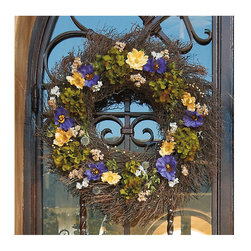 """Frontgate - Impressionist Wreath - 22"""" dia. - Composed of naturally dried globe thistle, orientalis, and golden flax. Hydrangea and cosmos are 100% silk. Sturdy quailbrush woven base. Only display in a covered area away from outdoor elements. Adorn your favorite entrance with the dramatic texture of our painterly Impressionist Wreath. Along with silken accents, the wreath's dried pieces are grown in the Pacific Northwest and have been naturally preserved for a fresh-picked appearance season after season.  .  .  .  . Made in the USA."""