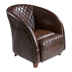 Great Deal Furniture - Michele Brown Top Grain Leather Club Chair - This chair looks as if it belongs in the library of Hearst Castle. Covered in distressed brown leather, the classic leather club chair features an opulent, quilted design and solid hardwood frame. Take a seat and you'll be transported to an era where luxury reigned.