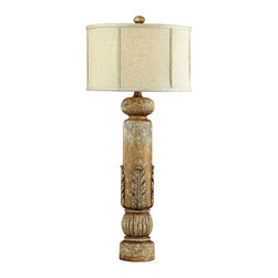 Sterling Industries - Dimond Twin Falls Traditional Table Lamp X-8219-39 - The cylindrical column base of this Dimond table lamp is complimented with candlestick-inspired details and beautiful overlaid carved details. From the Twin Falls Collection, this traditional table lamp is finished in a distressed Loughry hue and features a thick woven drum shade with bone detailing.