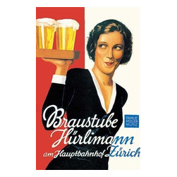 """Buyenlarge.com, Inc. - Braustube Hurlimann Hauptbahnhof- Framed Paper Poster 20"""" x 30"""" - Another high quality vintage art reproduction by Buy enlarge. One of many rare and wonderful images brought forward in time. I hope they bring you pleasure each and every time you look at them."""