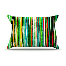 "Kess InHouse - Frederic Levy-Hadida ""Fancy Stripes Green"" Pillow Case, Standard (30"" x 20"") - This pillowcase, is just as bunny soft as the Kess InHouse duvet. It's made of microfiber velvety fleece. This machine washable fleece pillow case is the perfect accent to any duvet. Be your Bed's Curator."