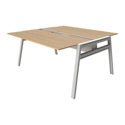Bivi Table for Two, in Warm Oak - A workspace for those who play well with others.