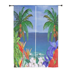 xmarc - Beach Art Sheer Curtains, Floral Beautiful Beach - The windows have it with these sheer, decorative curtains. Romantic and flowing, these elegant chiffon window treatments finish a room with the perfect statement
