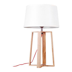 ParrotUncle - Wooden Quadripod Stand Table Lamp With Fabric Shade - The tried-and-true quadripod stands center stage in the design of this table Lamp. This classic base is made with wood and supports a white fabric shade. Powering your lamp is a black/red power cord with On/Off switch, standard American 2-prong polarized plug. You will need a 40W max bulb, which is not included with purchase.