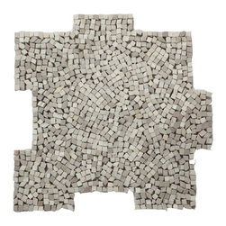 Glass Tile Oasis - Flavia Pebbles & Stones Grey Kitchen Tumbled Natural Stone - Palazzo Pebble mosaics are reminiscent of hand-placed tesserae mosaics from Italian basilicas. Each sheet is available in an interlocking format for seamless installation.