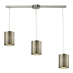 Elk Lighting - Lightgrid 3-Light Chandelier - This Linear Lightgrid Pendant Collection by Elk Lighting manipulates light through a laser cut pattern etched into the cylindrical, stainless steel shade. Providing ambient down light and finished in satin nickel, these light fixtures are ideal for any modern space. This mini pendant weighs eleven (11) pounds and accepts three (3) 60 watt bulbs with a medium base. It includes six (6) feet of cord.