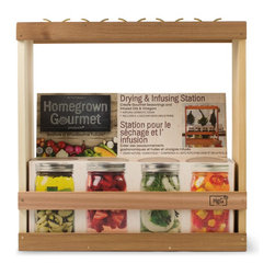 Architec Housewares™ - Homegrown Gourmet Products™ Harvest Drying & Infusing Station - Create Gourmet Seasonings and infused Oils, Vinegars, Syrup, Honey and Liquors. Natural Cedar Wood. Made in USA!