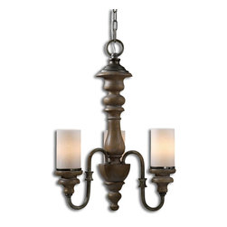 Uttermost - Uttermost Torreano 3 Light Wooden Chandelier 21252 - Heavily Distressed Solid Wood Turnings Finished In An Aged Pecan Stain With Burnished Taupe Arms And Glass Faux Candles.
