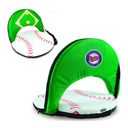 Picnic Time - Minnesota Twins Oniva Seat Sport Reclining Seat in Baseball Print - Football fans will love this recreational reclining seat that's so lightweight and portable. The Oniva Seat Sport has an adjustable shoulder strap and six adjustable positions for reclining. The seat cover is made of brown polyester and has been designed so that the entire seat looks like a larger than life football! The bottom of the seat is black dimpled PVC so as not to soil easily, the frame is steel, and the seat is cushioned with high-density PU foam, which provides hours of comfortable sitting. The Oniva Sport - Football is great for the beach, the park, or as an indoor gaming seat and makes the perfect gift for fans of the great sport Americans call football!; Decoration: Digital Print