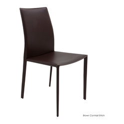 Sienna Dining Chair, Set of 2, Brown Contrast Stitch