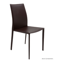 Nuevo Living - Sienna Dining Chair, Set of 2, Brown Contrast Stitch - You've got the table, now it's time for some comfortable, classy and coordinating dining chairs. Lucky you, here's the set of two chairs that brings everything together. With their tube steel frames, elegant slant and leather upholstery, all that's left is to pick your color and you can start planning that dinner party.