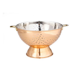 """9"""" Dia. Décor Copper Footed Colander/Centerpiece - Decorative and functional. Makes a handsome fruit-filled centerpiece as easily as it drains a pot of pasta.  Copper-plated Stainless Steel, clear tarnish-resistant finish (must be removed for food use, instructions included)."""