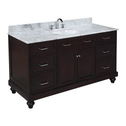 Kitchen Bath Collection - Amelia 60-in Single Sink Bath Vanity (Carrara/Chocolate) - This bathroom vanity set by Kitchen Bath Collection includes a chocolate cabinet, soft close drawers, self-closing door hinges, Italian Carrara marble countertop with stunning beveled edges, single undermount ceramic sink, pop-up drain, and P-trap. Order now and we will include the pictured three-hole faucet and a matching backsplash as a free gift! All vanities come fully assembled by the manufacturer, with countertop & sink pre-installed.