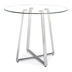 ZUO MODERN - Lemon Drop Counter Table Tempered Glass - A cosmopolitan and sleek piece, the Lemon Drop has a clear tempered glass top with chrome steel tube base.