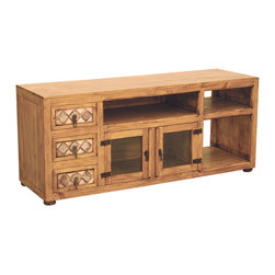 Rustic Pine Tv Stand with Marble - Matching almost any Southwestern Design or Mexican Rustic design setting, this 3 drawer with marbled inlay rustic entertainment center with 2 glass doors is just what is needed to store the components underneath your television set or flat screen. This unit is sturdy enough for the largest TV's and will bring satisfaction year round! The marble inlay adds so much more to this piece, don't you think? Shelves are not adjustable. Inside dimensions below.