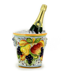 Artistica - Hand Made in Italy - Frutta: Ice Bucket - In typical Tuscan style, the Frutta Ice Bucket is covered with a vibrant display of fruits on a leafy foundation of burnished gold and lemon yellow.