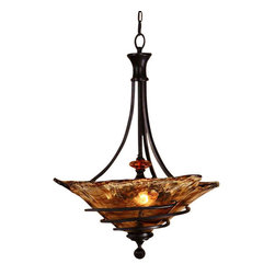 Uttermost Vitalia 3 Lt Oil Rubbed Bronze Pendant - Oil rubbed bronze metal with amber tinted accents and hand crafted toffee colored art glass. Hand wrought, oil rubbed bronze metal curls around heavy, hand made glass. Its amber tonalities are key in this exciting mix of materials.