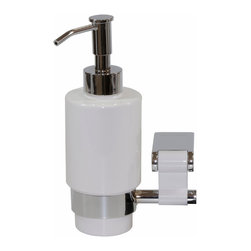 Manillons - Iris Wall Soap Dispenser-White. Polished Chrome & Ceramic - Iris Collection. This Wall soap dispenser is ideal for a gift. Has a simple and gorgeous design which is part of a wide collection of bathroom accessories designed and manufactured in Spain. Made in brass polished chrome highly reflective, white ceramic bottle and white aluminum. Beautifully Coordinates with others Macral items such as robe hook, towel rail, which are available to be purchased any time online in our houzz profile stock items.