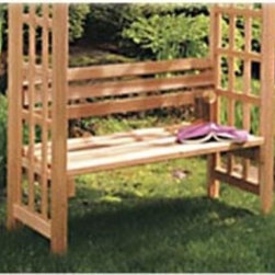 Arboria 42 inch Arbor Bench w/ Back - The Arboria 42 inch Arbor Bench w/ Back is designed for the Rosedale and Astoria arbors. This comfortable bench has a seat height of 18 inches and is perfect for reading and relaxing in your garden oasis. Constructed of a beautiful Western Red Cedar the arbor bench is naturally resistant to moisture and insects. Leave the cedar wood as is to enjoy a natural weathered grey look over time or treat with a weather-resistant stain or clear coat to conserve it's original beauty. Bench only arbor not included. Assembly is required and includes all necessary hardware.