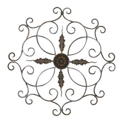 Welcome Home Accents - Medallion Wall Decor - The Medallion Wall Decor combines a visually stunning combination of elegant style and vintage design. The lovely wall art piece is made of strong metal and features beautiful scrolled iron in a burnt copper finish. Metal wall art with hooks on back for easy hanging.  Beautifully detailed medallion sits in the center of this eye catching piece.
