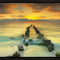 Elementem - Endlessly Out To Sea Framed Print - Endlessly Out to Sea framed is one of our most popular images across all our different types of prints. From the beaches of Cancun, the beautiful sunset falls behind an old jetty to create a wonderfully serene landscape scene.