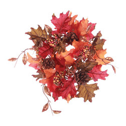 "Oddity - Oddity Christmas Party Decoration 3"" Fall Leaf Candle Ring - Fall leaves and berries are blended to created the ideal floral accent."