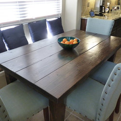 """Kitchen Furniture - This is a photo of our basic farmhouse style table, called The Plano. This one is 5'L x 36""""W and features Dark Walnut stain,"""