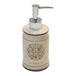 Dolomite Soap Dispenser Round Shape Romance Champagne - This elegant soap dispenser Romance for bathrooms is in dolomite with rosette patterns and adds a traditional look and feel to your decor. This round shape soap dispenser is a lovely accent for any bathroom and features a diameter of 2.87-Inch and a height of 7-Inch. The chrome-plated top unscrews for refilling with soap or lotion. Wipe clean with soapy water. Color beige. Accessorize your bathroom countertop in a trendy style with this charming soap dispenser! Complete your Romance decoration with other products of the same collection. Imported.
