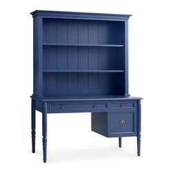 Isabella Writing Desk with Optional Hutch - Isabella Writing Desk features a combination of fluted side detailing and delicate rope pull hardware painted to match, making it anything but usual. A hutch can be added to create more organizational possibilities with its two adjustable shelves. Structural design of this piece incorporates the use of ball bearing, telescoping drawer glides for ease of use and stability. Perfect for the home office. Shown in Blueberry with standard brass hardware.