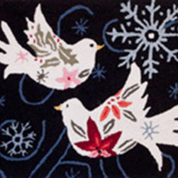 Homefires - Winter Doves Rug - Machine washable, wool look-alike, accent rug.