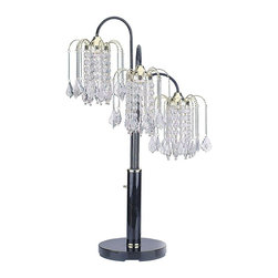 ORE International - 3 Light Table Lamp in Black Finish - Requires 3 40W bulb (bulb not included). Faux crystal . Chandelier style . Clear acrylic beads . Made from steel and acrylic. Assembly required. 15 in. L x 15 in. W x 34 in. H (16 lbs.)Contemporary gunmetal finish puts a new twist on this classic chandelier style table lamp. Even when it's not lit, this fabulous light sparkles with prismatic rainbows of color for a dazzling effect. Incredibly affordable, this beautiful lamp is suitable for any room in your home.