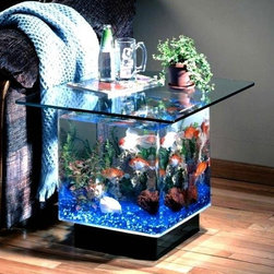 Aqua End Table 15 Gallon Aquarium - This Aqua End Table 15 Gallon Aquarium is a wonderful addition to any home or office. With all the elegance of a coffee table and a functional design of an aquarium. Experience the wonder of the aquatic life from the top and the sides of this unique and stylish piece. Feel right at home watching the blue gravel gently glow while the lighting illuminates the tank from the base. The tank is hand made with durable cell cast acrylic that has more clarity and is over ten time stronger than glass. This is a 15 gallon style aquarium.