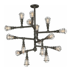 Rustic Industrial Lighting - The Troy Lighting Conduit F3818 is a restoration-vintage two tier chandelier. The maze of pipes with industrial style covered Edison bulbs adds a unique flair.stylish piece that works with any decor.