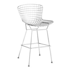 ZUO - Wire Bar Chair - An icon of mid-century modern, the Wire Bar Chair comes in a bevy of options. Three finishes of chrome, matte black, or matte white. Two heights, dining or bar. Six color options, black, white, red, orange, green, grey, or espresso. Sold separately.
