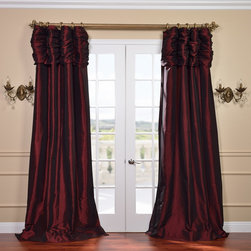 EFF - Syrah Ruched Header Faux Silk Taffeta Curtain Panel - This ruched header drape represents extravagant luxury that adds a new dimension in any decor. This window panel is tailored from the finest shimmering faux silk taffeta in gorgeous tones to add a ballroom elegance to any window in your home.