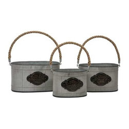 Peterson Galvanized Planter with Jute Handle - Set of 3 - This set of three charming planters, made of galvanized metal with jute handles, is perfect for holding a kitchen herb garden, fruits, garden tools or, of course, your favorite plants!