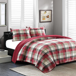 Ink and Ivy - Ink and Ivy Maddox Cotton 3-piece Quilt Set - Dress your bed with the Maddox quilt set made of a cotton cover and fill. The patchwork quilt features dyed red and khaki work together in small squares adding value and dimension. This set is available in twin,full/queen and king dimensions.