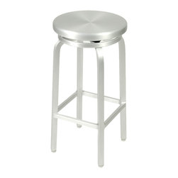 Eurostyle - Miller-B Bar Swivel Stool-Alum - Beaming in aluminum, this sleek bar stool gives you a sturdy place to sit while you sip. The stool swivels as well, allowing you to shake things up and socialize with old friends, maybe make some new ones.