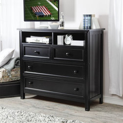 Fashion Bed Group - Casey Media Chest - Black - RN1056 - Shop for Dressers from Hayneedle.com! Bridge the gap between traditional decor and contemporary entertainment equipment with the Casey Media Chest - Black a classically designed storage unit with a modern black finish. Crafted with durable wood this clean-lined chest boasts four roomy storage drawers - two large and two small - each with a framed front and smooth round knobs. At the top two open shelving units can house CD DVD DVR and video game units as well as CDs DVDs and video game cartridges. Supports TVs up to 47W inches.About Fashion Bed GroupFashion Bed Group is a Leggett and Platt Company known for its innovative fashion beds daybeds futons bunk beds bed frames and bedding support. Created in 1991 Fashion Bed Group is a large consolidation of three leading bed manufacturers. Its beds are manufactured of genuine brass plated brass cast zinc cast aluminum steel iron wood wicker and rattan. Fashion Bed Group's products are distributed throughout North America from warehouses located in Chicago Los Angeles Houston Toronto and Ennis Texas.